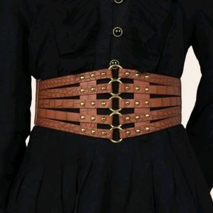 Hollow Out Gold Studded Wide Width Belt
